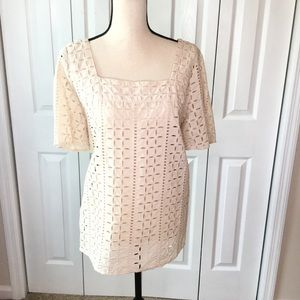 Ann Taylor LOFT Peach Eyelet Short sleeve top  14
